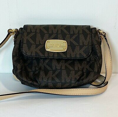 MICHAEL KORS Women's Leather MK Crossbody Hand Bag Purse Brown Tan - New