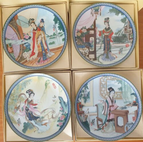Plates 1-4 Beauties of the Red Mansion Collection Imperial Jingdezhen Porcelain