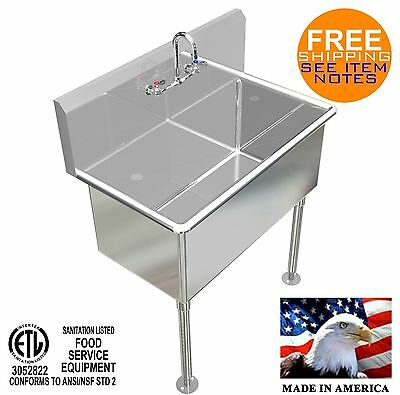 Hand Sink 36x20x15deep Tub Heavy Duty Stainless Steel Washing Made In America