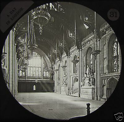 Glass Magic Lantern Slide INTERIOR OF THE GUILDHALL C1890 PHOTO LONDON