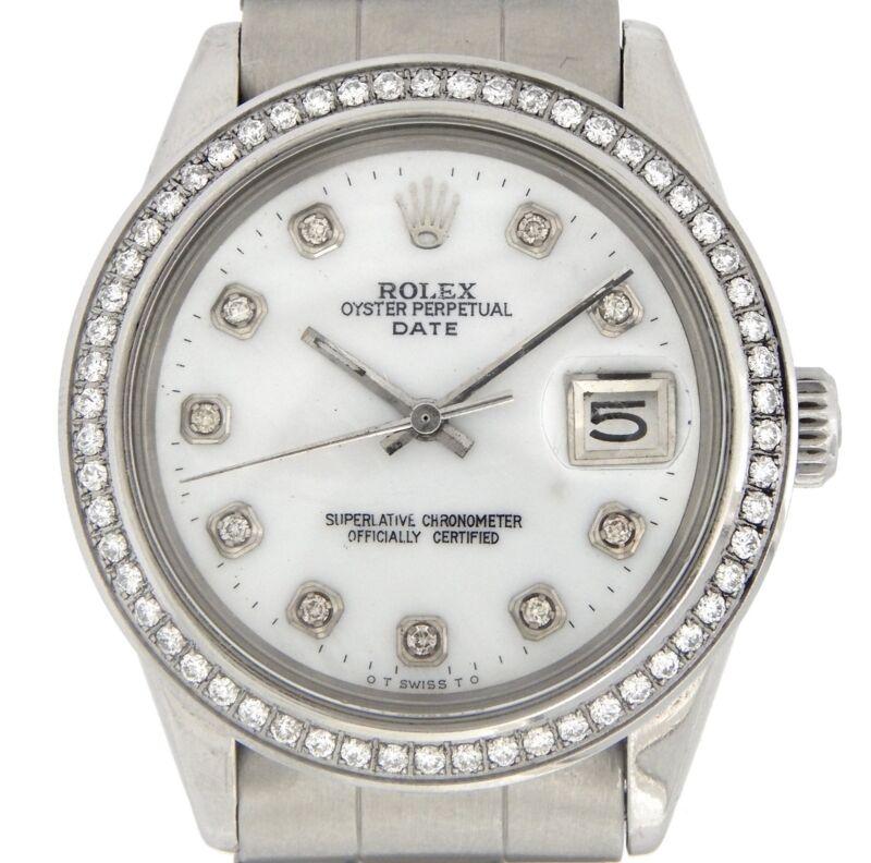Mens Rolex Date Steel Watch Ss Oyster Band White Mop Diamond Dial Diamond Bezel