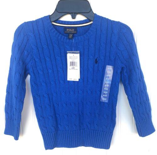 NEW RALPH LAUREN Polo Boys Cable Knit Sweater Crewneck Blue 100% Cotton Size 4T