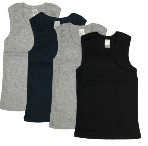 Undershirt Boys 4-Pack Toddler Baby Cotton Tank Top Solid Plain Blank Ribbed Lot