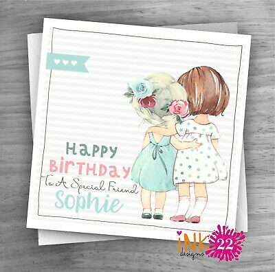 Personalised  Pretty Handmade Birthday Card Best Friend, Sister, Cute Vintage