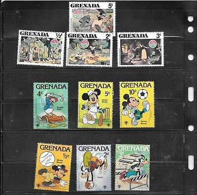 DISNEY GRENADA 10 DIFFERENT MNH  STAMP COLLECTION LOT PACKET