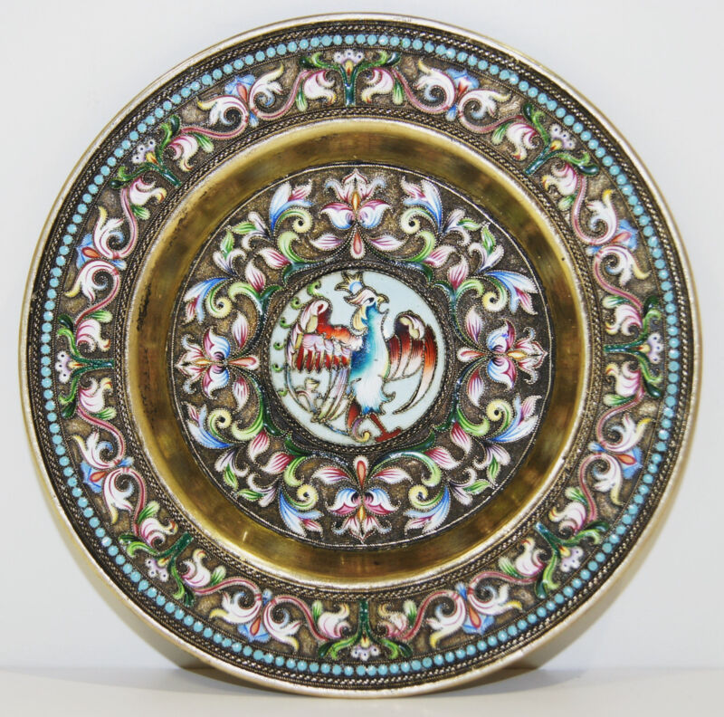 Russian 84 Gilt Silver & Champleve Enamel Tray/Plate Maria Semenova Circa 1900