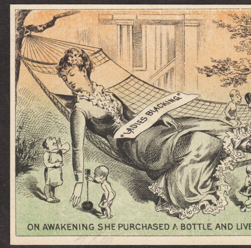 Antique Lady Happy Dream Fantasy Elf Blacking Shoe Polish Advertising Trade Card