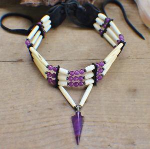 Native American Choker w/ Amethyst Arrowhead Cherokee made William Lattie Cert