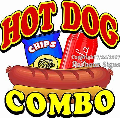 Hot Dog Combo Decal Choose Your Size Food Truck Concession Vinyl Sticker