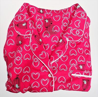XL 16-18 Bird Cage Love Hearts Pink PJ NWT 2 Piece Set Jersey Walmart Sleepwear
