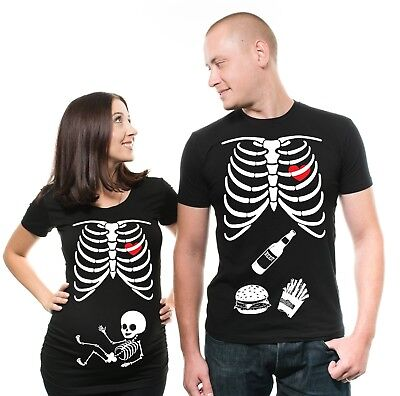 Pregnancy Funny X-ray Couple Skeleton T-shirt Maternity Halloween Costume Shirts](Maternity Skeleton Halloween Costume)