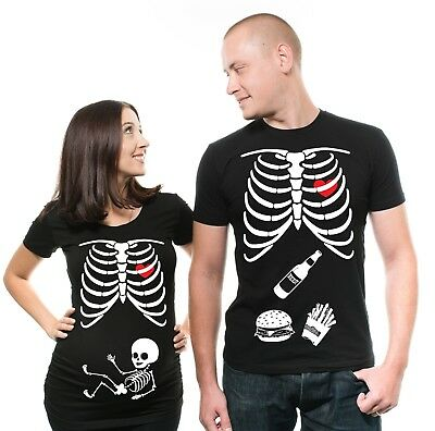 Pregnancy Funny X-ray Couple Skeleton T-shirt Maternity Halloween Costume Shirts (Maternity Skeleton Halloween Shirt)
