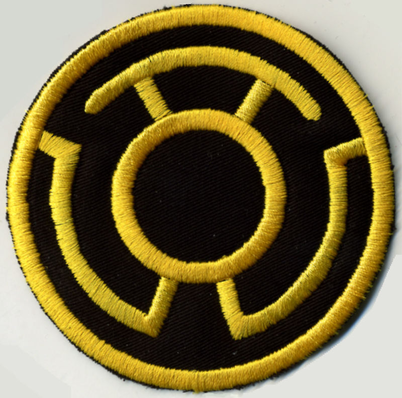 """2.5"""" Yellow on Black Lantern Corps Classic Style Embroidered Iron-on Patch"""