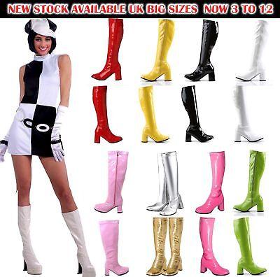 DAMEN Damen Kostüm 70S & 1960'S Kniehoch Go Go Retro Stiefel Größe 3 Sich 12