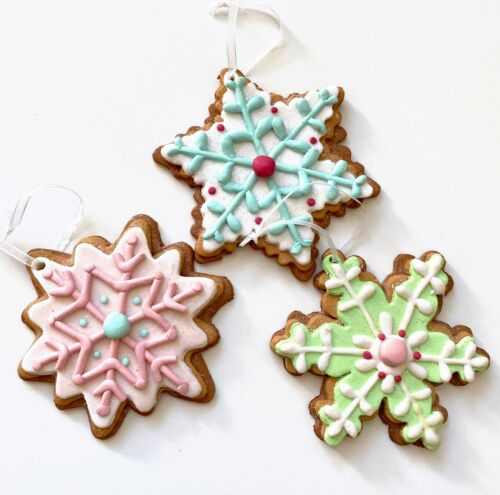 3 Pink Mint Blue Green Snowflake Cookie Christmas Tree Ornament Frosted Candy R