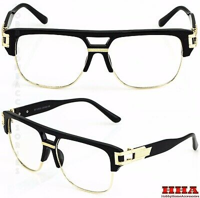 VINTAGE RETRO CLASSIC Hip Hop Style Clear Lens Eye Glasses Gold Fashion (Vintage Glass Frames)