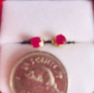 Genuine Ruby in 14k Yellow  Solid Gold Stud Earrings