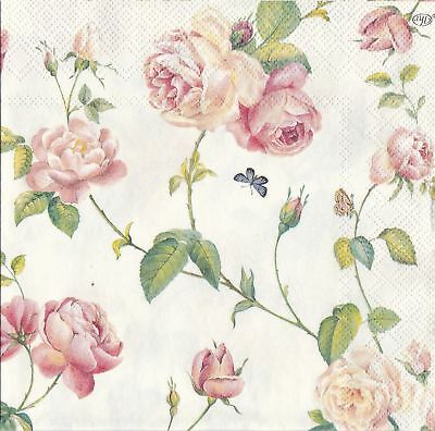 4 Napkins Roses 33x33cm Tissues Decoupage Paper Craft