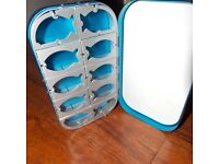 Aluminum Fly fishing box  Blue  in color  16  compartment with flat foam NEW