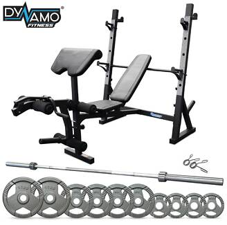 Bench Press / Squat Rack 70kg Olympic Barbell Weights Package NEW