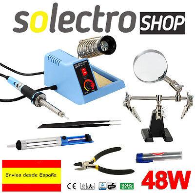 Estación eléctrica 48W Soldadura + Accesorios KIT Desoldador Pinzas Lupa H0116