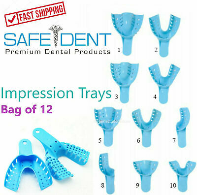 Dental Perforated Plastic Impression Trays Autoclave Choose Size 1 Bag Of 12