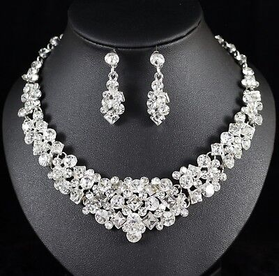 Party Austrian Crystal Rhinestone Necklace - Crystal Austrian Rhinestone Necklace Earrings Set Bridal Prom Pageant Party N107