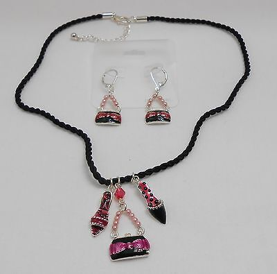 BLACK AND PINK SHOE AND PURSE PENDANTS NECKLACE AND EARRING SET - ENAMEL - Enameled Purse Pendant