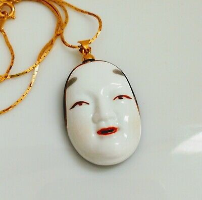 Vintage Japanese Porcelain Toshikane Face Pendant Necklace