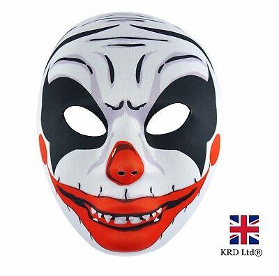 SCARY CLOWN FACE MASK Mens Evil Horror Joker Halloween Costume Accessory NEW UK
