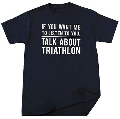 Triathlon T-shirt Funny Racing Gift idea for Him Her Christmas Birthday Tees ()