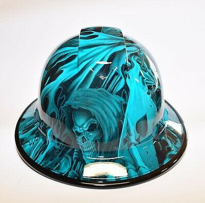 Custom Wide Brim Hard Hat Hydro Dipped In Candy Teal Ace Of Skullsw Brim Guard