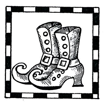Halloween Witch Shoes Small Wood Mounted Rubber Stamp NORTHWOODS B10479 New - Witch Shoes Halloween