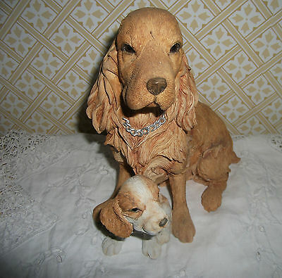 COLLECTABLE COUNTRY ARTISTS LARGE GOLDEN COCKER SPANIEL DOG WITH PUPPY