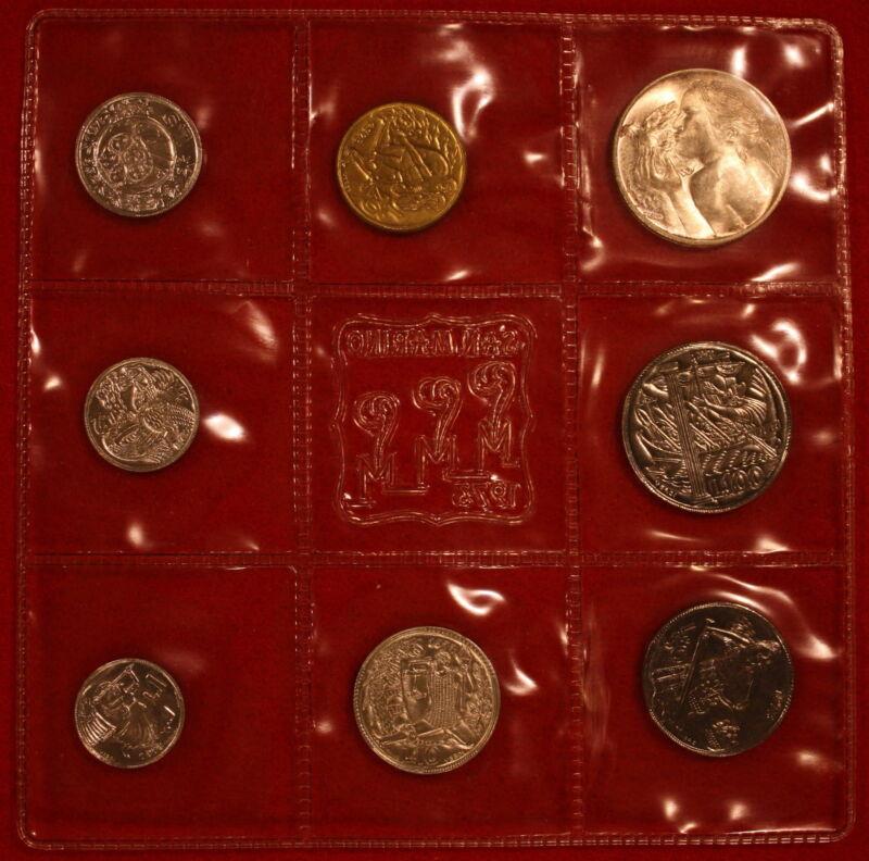 San Marino Mint Set 1973 KM# MS2, 8 Coins 1 Silver, Original Box COA 1-500 Lire