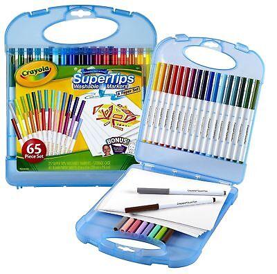 Crayola Super Tips Washable Markers and Paper Set, 65 Piece Art Kit 04-5226  - Crayola Marker Set