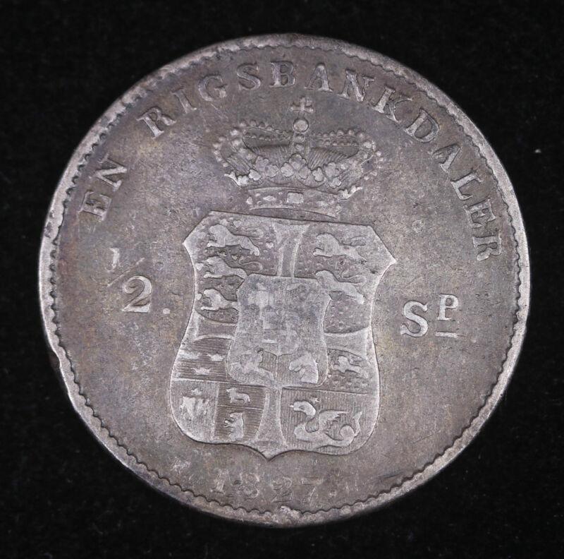 1827 FF 1/2 Denmark Specie Daler Rigsbank Silver Coin Very Fine++ #FC1204