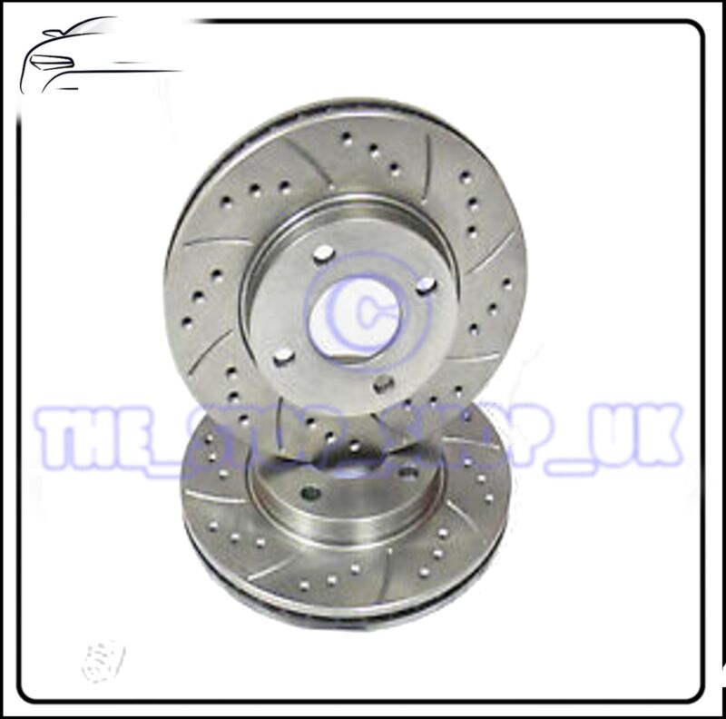 Performance Drilled & Grooved Front Brake Discs to fit Lexus CT200H 10-