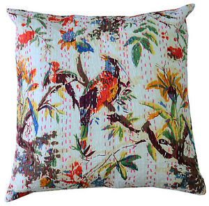 WHITE-INDIAN-BIRD-FLORAL-PILLOW-CUSHION-COVER-THROW-Ethnic-Kantha-Decor-16