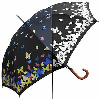 "46"" Color Changing Butterfly, Auto Umbrella - RainStoppers Rain/Sun UV"