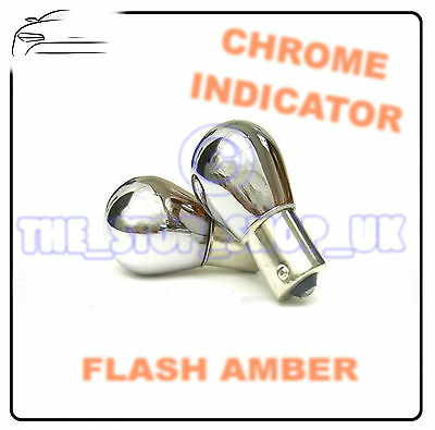 2x Chrome Indicator Bulbs 382 Straight Pins