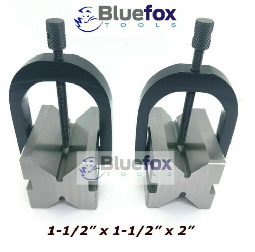 """Steel V Block 2""""x1.5""""x1.5"""" With Sets Of Clamp Hardened & Ground"""