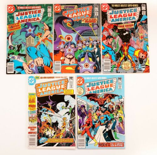 Justice League of America #189,190,192,193,194 Lot (1981 DC Comics) 1st Series