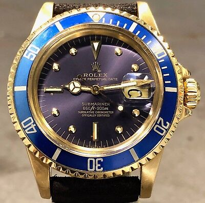 VINTAGE ROLEX SUBMARINER 1680 18K YELLOW GOLD AMAZING ORIGINAL TROPICAL DIAL