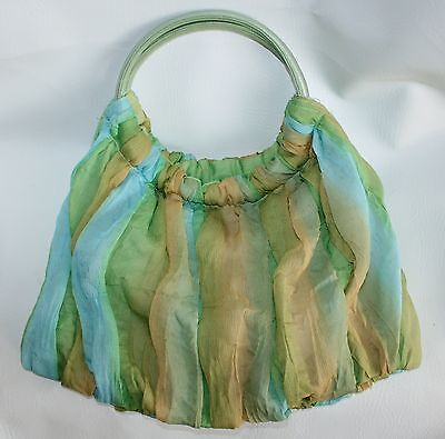 Gauzy Ocean Vacation Small Tote Hand Bag Blue Green Yellow Flowy Iridescent