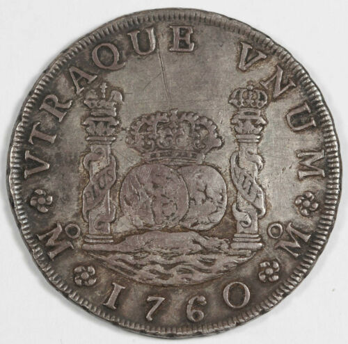 MEXICO 1760 Mo MM 8 REALES Pillar Dollar Silver Coin XF+ KM#105 Orginal Toned