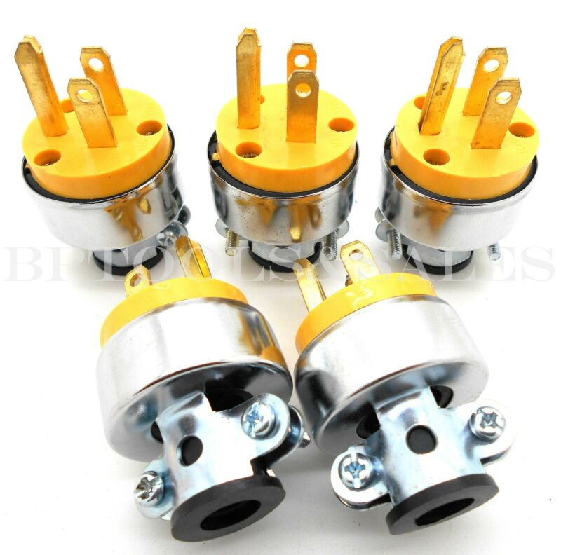 5 Pc Male Extension Cord Electrical Wire Repair Replacement Plug End Set