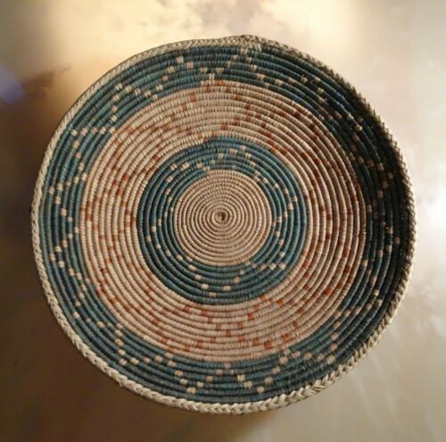 """Large Arizona Coiled Basketry Tray, 13""""  Hand-Woven Basket"""