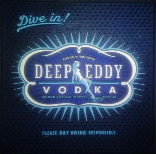 """NEW! Dive In! Deep Eddy Vodka Blue Rubber Bar Spill Mat Square Large 16"""" X 16"""""""