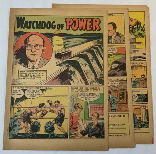 1947 five page cartoon story ~ DAVID LILIENTHAL Tennessee Valley Authority